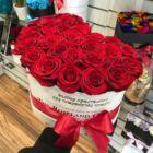 Fehér szív doboz, vörös rózsa