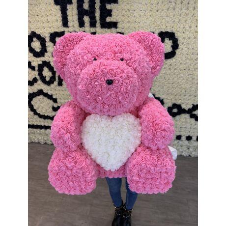 The Roseland Company rózsaszín óriás Virágmaci szívvel